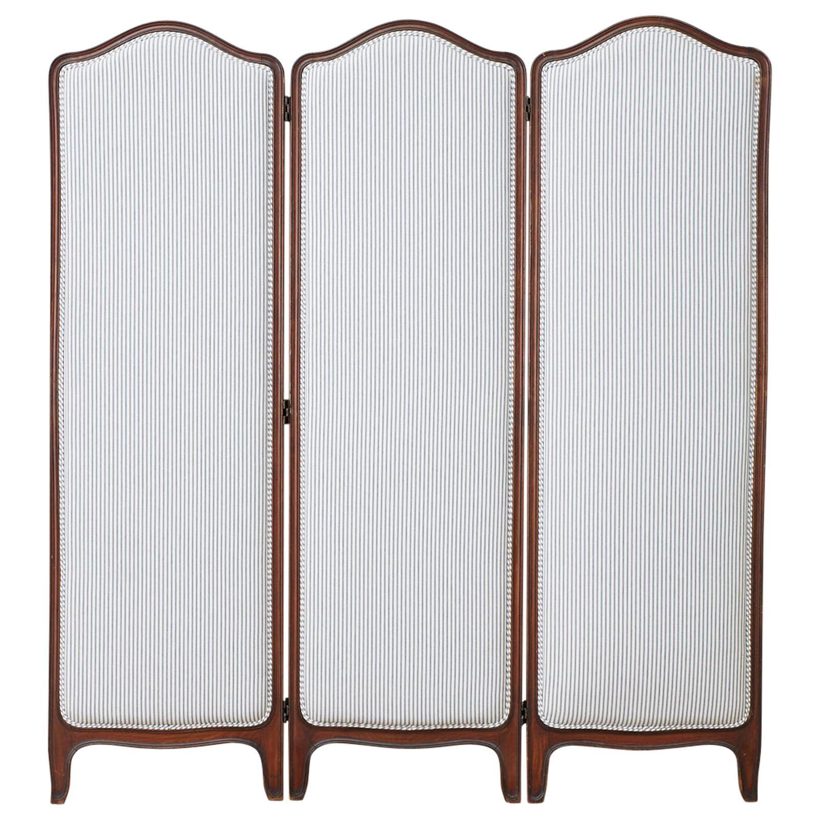 19th Century Louis XV Style Walnut Three-Panel Folding Screen