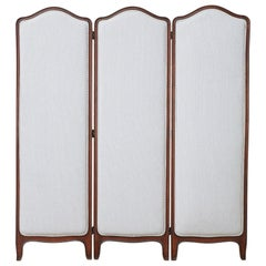 19th Century Louis XV Style Walnut Three-Panel Folding Screen