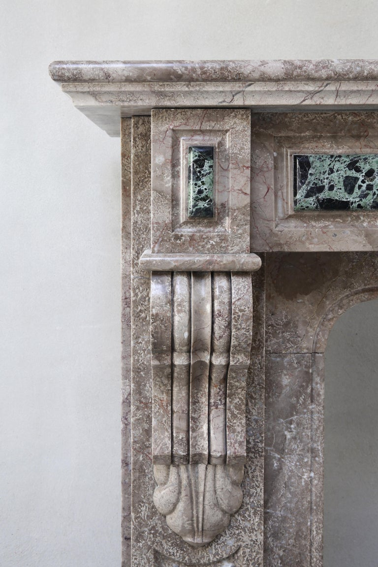 19th Century, Louis XVI Antique Marble Fireplace For Sale 5