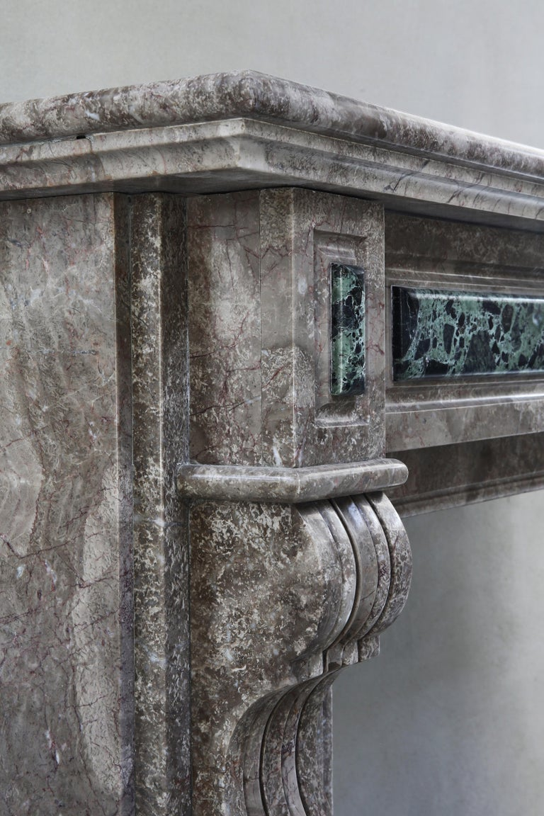 19th Century, Louis XVI Antique Marble Fireplace For Sale 6