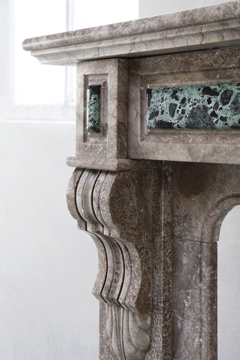 19th Century, Louis XVI Antique Marble Fireplace For Sale 4