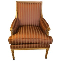 19th Century Louis XVI Bergère Club Chair with Rose Tarlow Upholstery