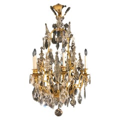 19th Century Bronze and Large Crystal Palatial Chandelier