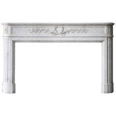 19th Century, Louis XVI Carrara Antique Marble Fireplace