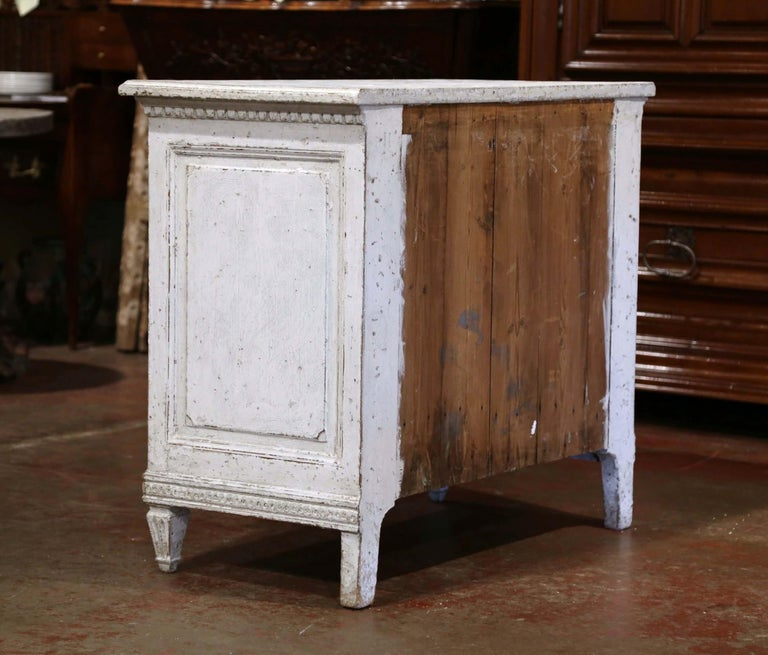 19th Century Louis XVI Carved and Painted Three-Drawer Commode Chest For Sale 4