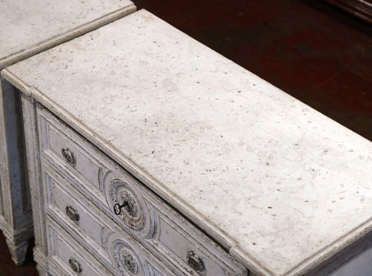 French 19th Century Louis XVI Carved and Painted Three-Drawer Commode Chest For Sale