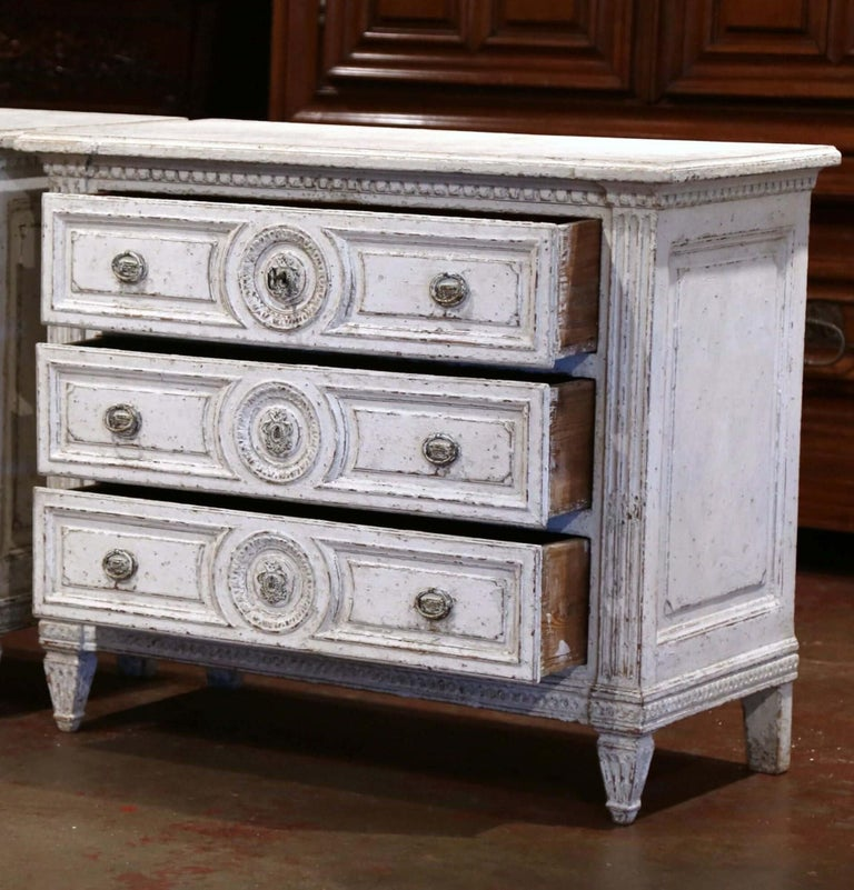 Hand-Painted 19th Century Louis XVI Carved and Painted Three-Drawer Commode Chest For Sale