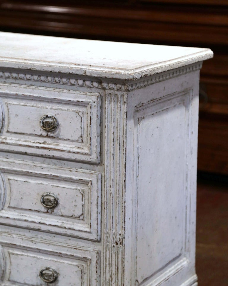 Oak 19th Century Louis XVI Carved and Painted Three-Drawer Commode Chest For Sale