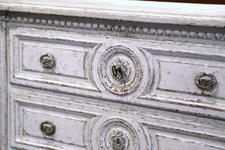 19th Century Louis XVI Carved and Painted Three-Drawer Commode Chest For Sale 1