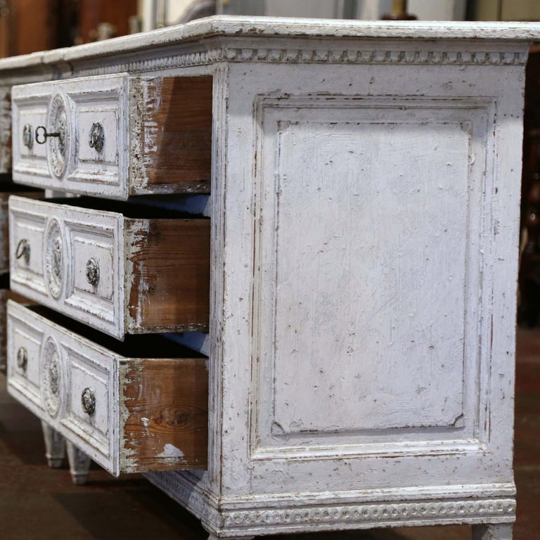 19th Century Louis XVI Carved and Painted Three-Drawer Commode Chest For Sale 3