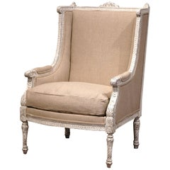 19th Century Louis XVI Carved Painted Bergere Armchair with Burlap Upholstery