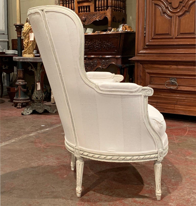 19th Century Louis XVI Carved Painted Bergère Armchair with Striped Fabric For Sale 4