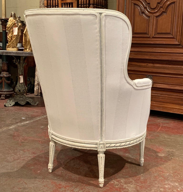 19th Century Louis XVI Carved Painted Bergere Armchair with Striped Fabric For Sale 5