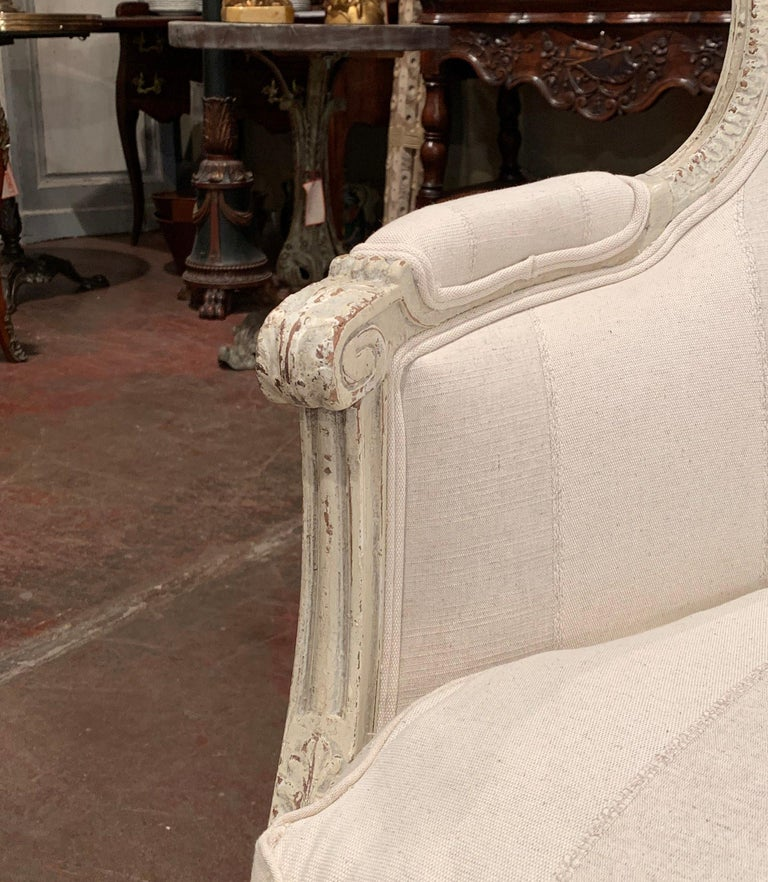 19th Century Louis XVI Carved Painted Bergère Armchair with Striped Fabric For Sale 3