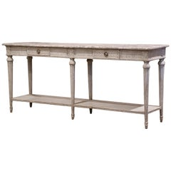 19th Century Louis XVI Carved Painted Console Table with Faux Marble Top