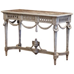 19th Century Louis XVI Carved Painted Console with Faux Marble Top