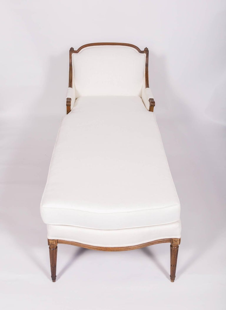 19th Century 19c Louis XVI Upholstered Chaise For Sale