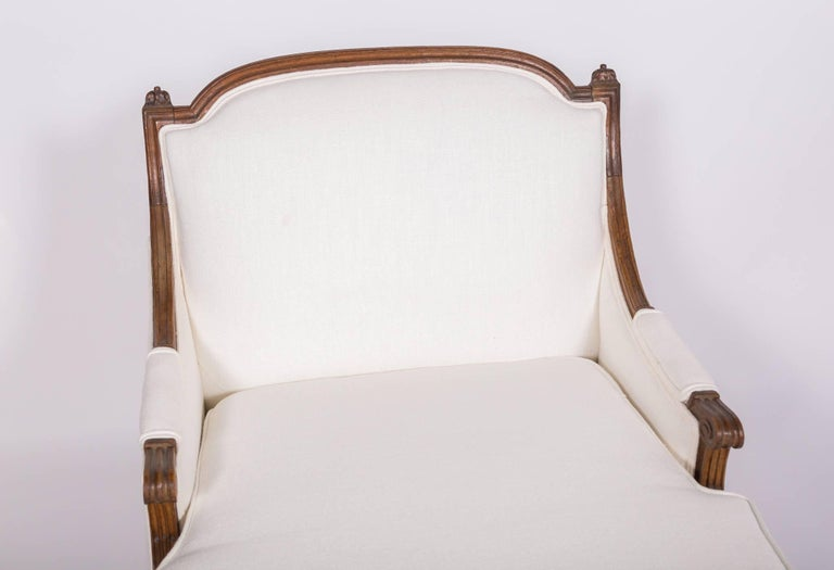 19c Louis XVI Upholstered Chaise For Sale 2