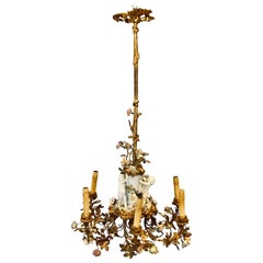 19th Century Louis XVI Gilt Bronze Meissen and Sevres Parian Chandelier