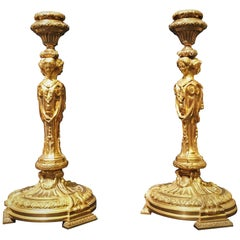 19th Century Louis XVI Gilted Bronze French Candlesticks