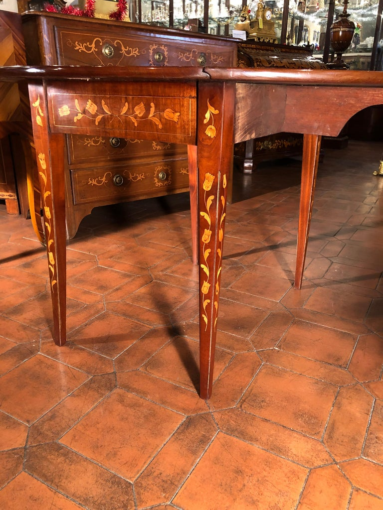 19th Century Louis XVI Mahogany Inlay Dutch Table, 1800s For Sale 9