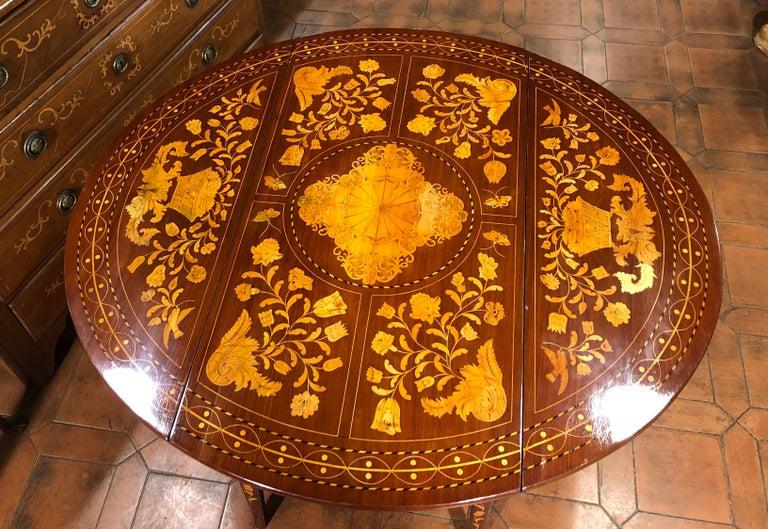 19th Century Louis XVI Mahogany Inlay Dutch Table, 1800s For Sale 4