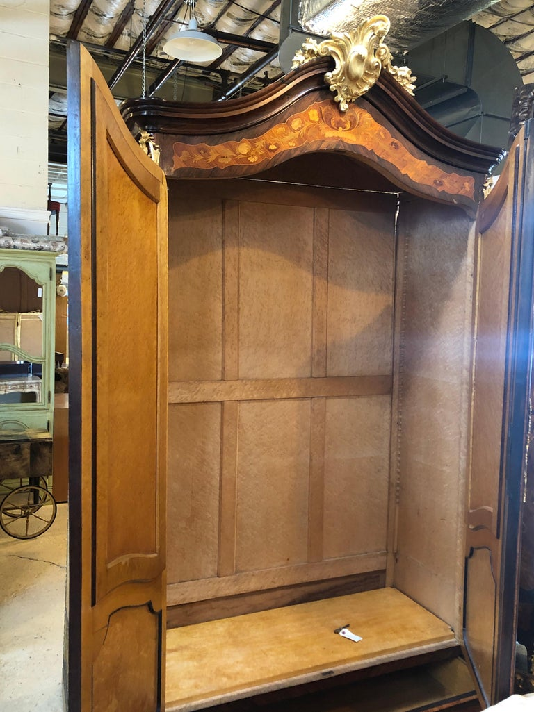 Ormolu Mounted Marquetry Armoire With Mirrored Doors For