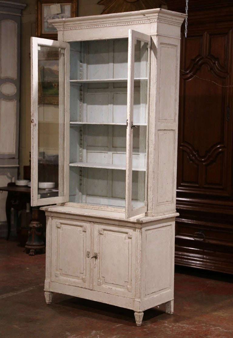 19th Century Louis XVI Painted Buffet Display Cabinet With