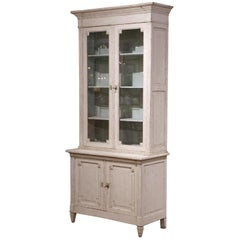 19th Century Louis XVI Painted Buffet Display Cabinet with Glass Doors