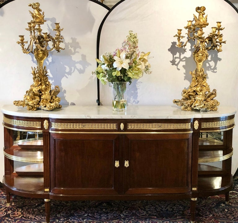 19th Century Louis XVI Sideboard, Cabinet or Console by Maison Forest, Mahogany In Good Condition For Sale In Stamford, CT