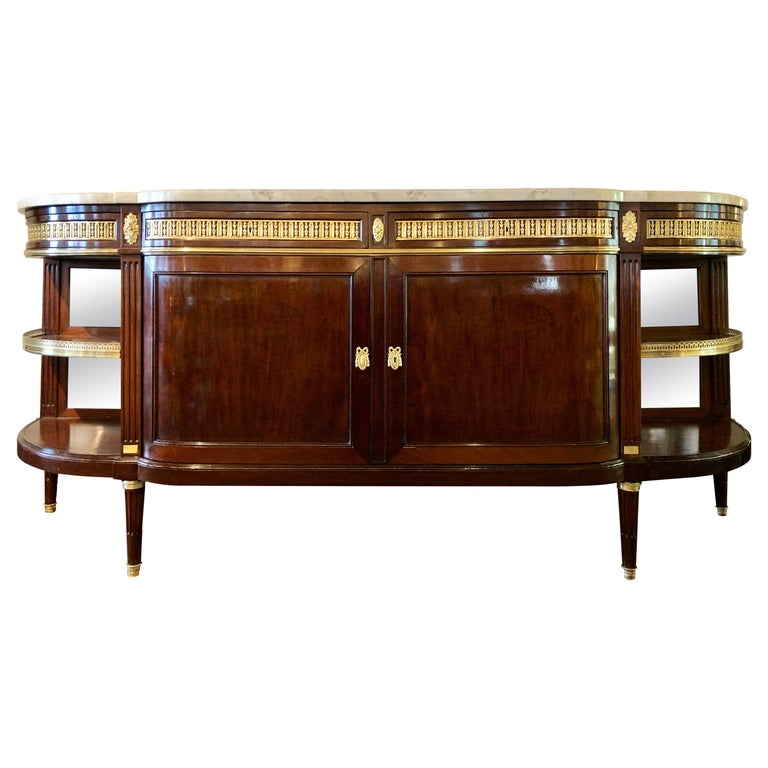 19th Century Louis XVI Sideboard, Cabinet or Console by Maison Forest, Mahogany For Sale