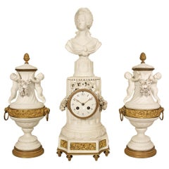 19th Century Louis XVI Style Garniture Clock Set in 'Biscuit de Sevres'
