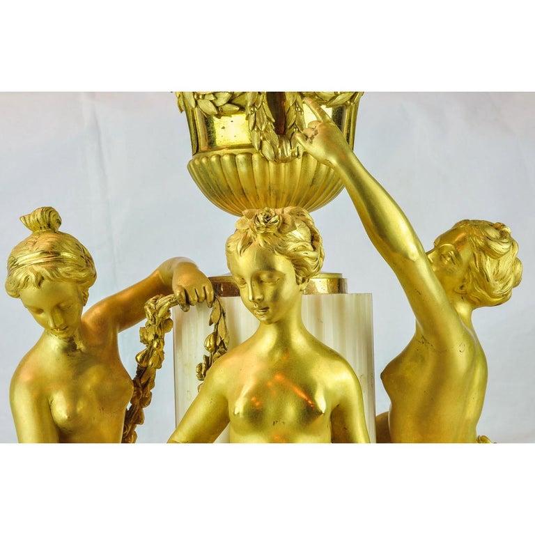 Gilt 19th Century Louis XVI-Styl Ormolu and White Marble Mantel Clock  For Sale
