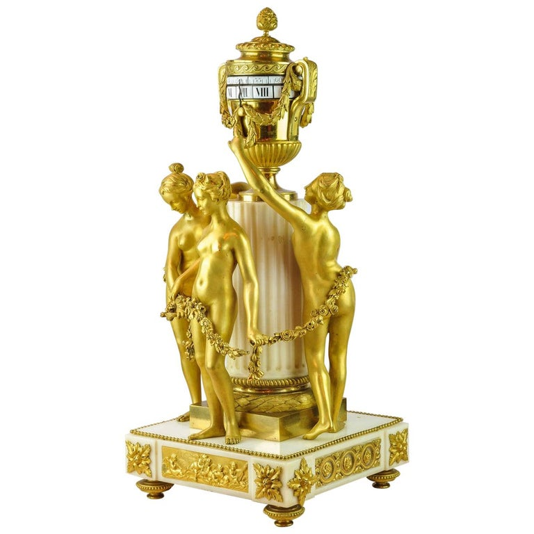 19th Century Louis XVI-Styl Ormolu and White Marble Mantel Clock  For Sale