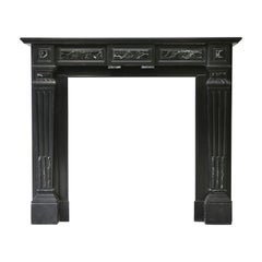 19th Century, Louis XVI Style, Antique Marble Fireplace of Noir de Mazy