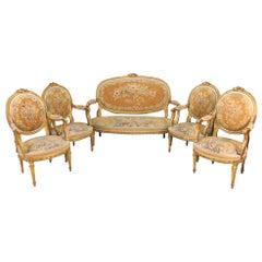 19th Century Louis XVI Style Aubusson Salon / Parlor Set, Settee Four Fauteuils
