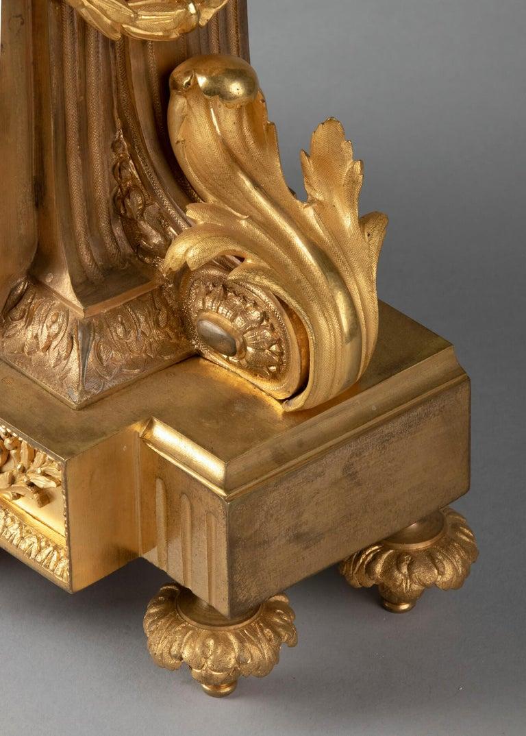 19th Century Louis XVI Style Bronze Ormolu Mantel Clock For Sale 5