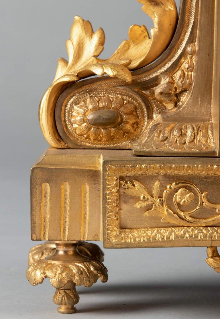 19th Century Louis XVI Style Bronze Ormolu Mantel Clock For Sale 6