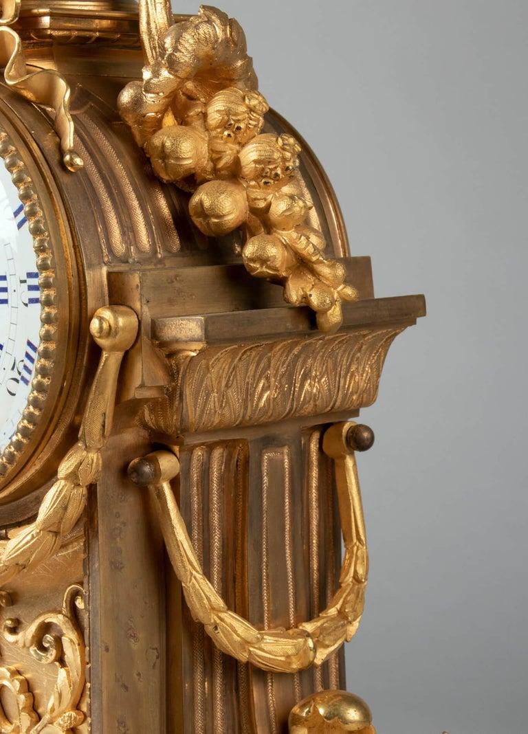 19th Century Louis XVI Style Bronze Ormolu Mantel Clock For Sale 8