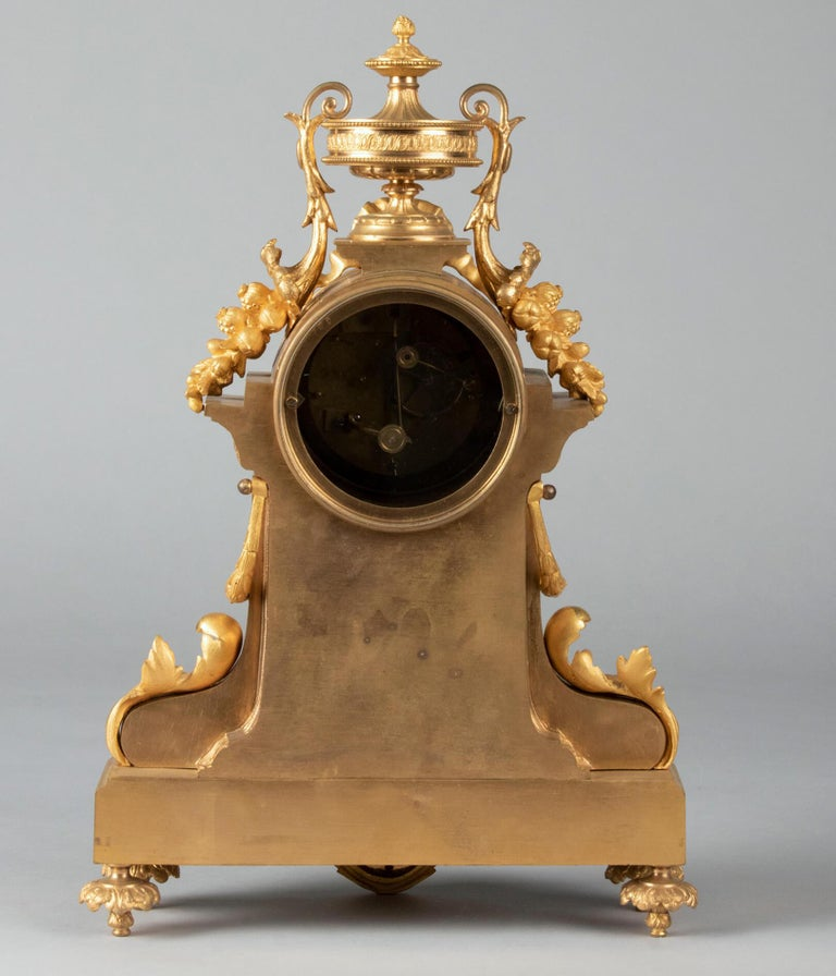 19th Century Louis XVI Style Bronze Ormolu Mantel Clock For Sale 10