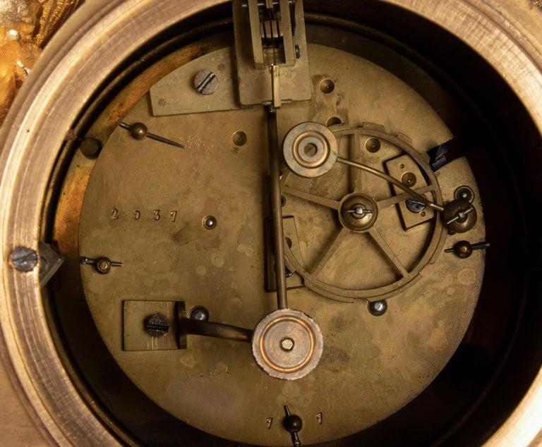 19th Century Louis XVI Style Bronze Ormolu Mantel Clock For Sale 11