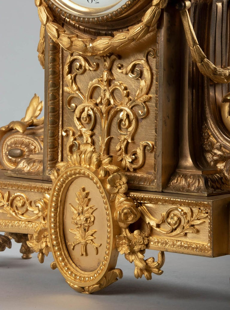 19th Century Louis XVI Style Bronze Ormolu Mantel Clock For Sale 13