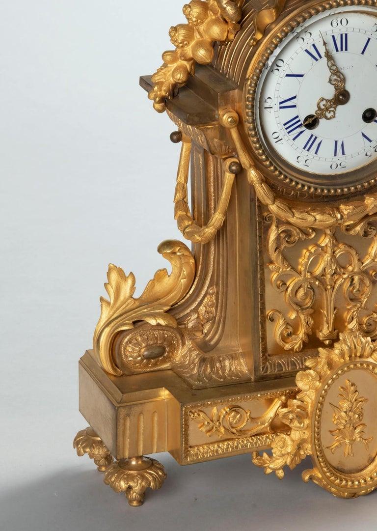 19th Century Louis XVI Style Bronze Ormolu Mantel Clock For Sale 14