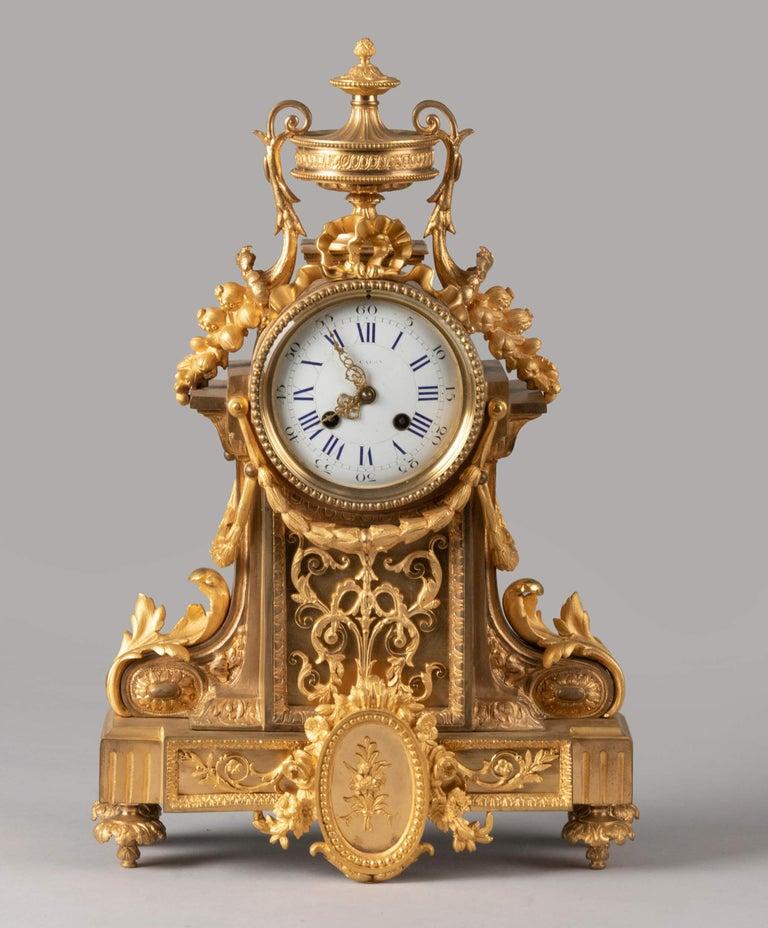 French 19th Century Louis XVI Style Bronze Ormolu Mantel Clock For Sale