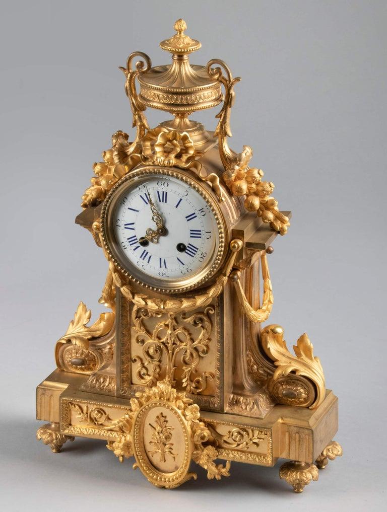Gilt 19th Century Louis XVI Style Bronze Ormolu Mantel Clock For Sale