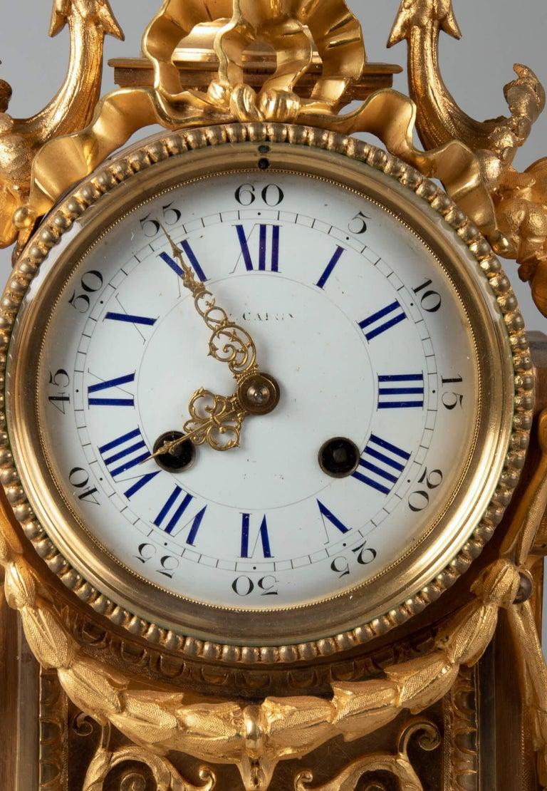 19th Century Louis XVI Style Bronze Ormolu Mantel Clock For Sale 1