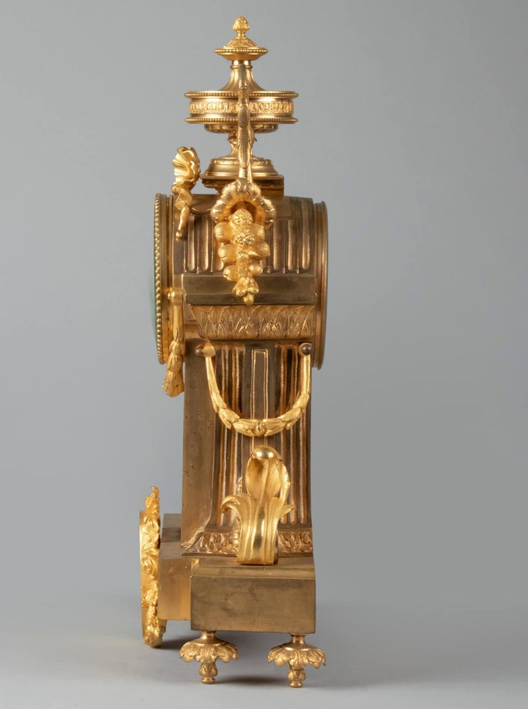 19th Century Louis XVI Style Bronze Ormolu Mantel Clock For Sale 3