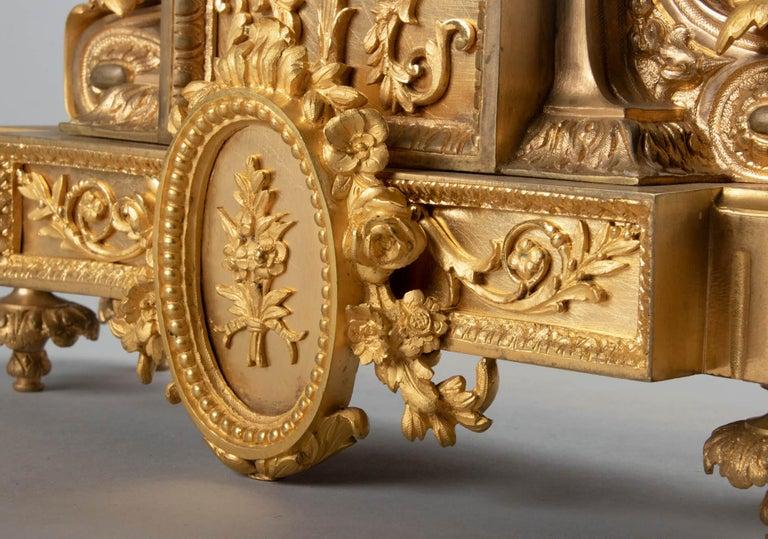 19th Century Louis XVI Style Bronze Ormolu Mantel Clock For Sale 4