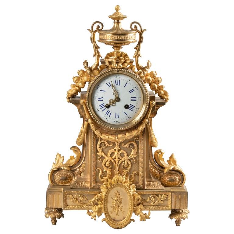 19th Century Louis XVI Style Bronze Ormolu Mantel Clock For Sale