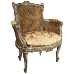 19th Century Louis XVI Style Caned and Painted Bergere or Armchair